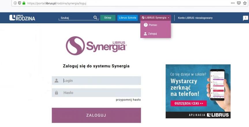 Obrazek przedstawiający internetową stronę logowania dla rodziców i uczniów do dziennika elektronicznego.